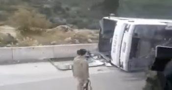 فيديو: انقلاب إحدى حافلات المهجرين قسراً من خان الشيح واستشهاد امرأة
