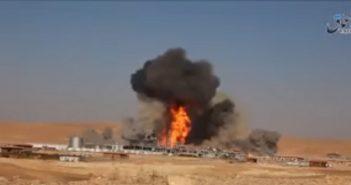 بالفيديو: شاهد تنظيم الدولة يفجر أكبر آبار الغاز في ريف حمص