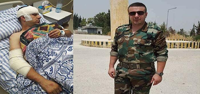 """بالصور: إصابة مراسل تلفزيون نظام الأسد """"شادي حلوة"""" ونقله إلى المستشفى"""