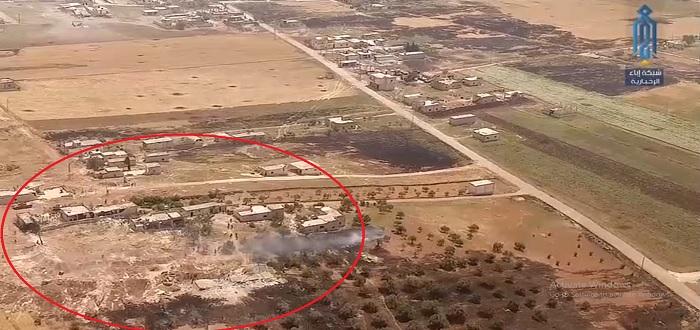 بالفيديو: طائرة مسيرة توثق لحظة هروب عناصر قوات الأسد من كفرنبودة